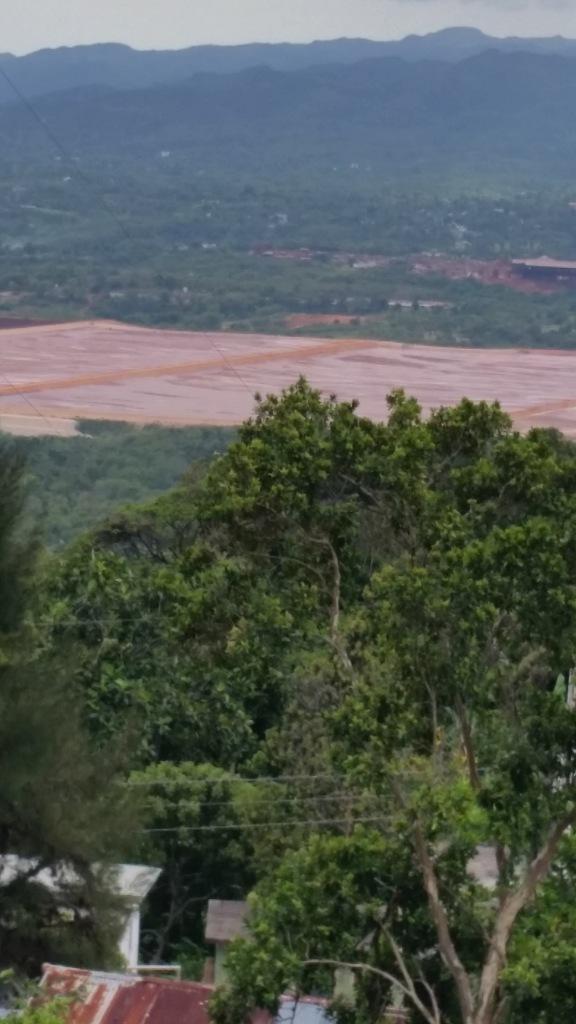 Bauxite deposits taken from highway